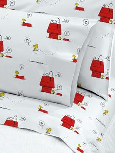 Snoopy and Woodstock Percale Sheet Set