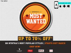 Let's get Stylish! Myntra Most Popular Styles - Get up to 70% Discount on Apparels #Myntra #Fashion #Apparels #Footwear #Shopping #India