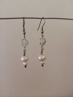 Pretty pearl earrings with silver accents by RealBeadDesigns