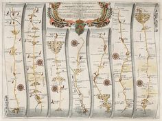 OGILBY, John. The Road from London to Bath and Wells. 1675. #road #map #route #travel Vintage Maps, Antique Maps, Watch This Space, Wells, Bath, London, Antiques, Travel, Voyage