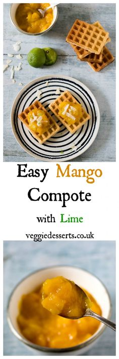 This mango compote is easy, quick and tasty. Make it in 15 minutes with 4 ingredients, using fresh or frozen mangoes. Vegan Breakfast Recipes, Delicious Vegan Recipes, Breakfast Dishes, Amazing Recipes, Mango Compote Recipe, Fruit Compote, Fruit And Veg, Fruits And Veggies, Healthy Meals For Kids