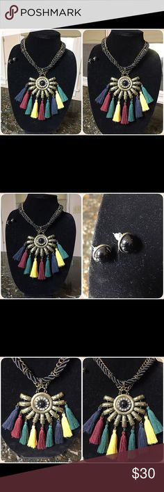 Fashion Necklace and Earrings Mayan style tassel necklace and matching earrings in red, black, yellow, blue, green, brandished gold. Jewelry Necklaces