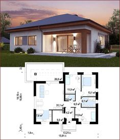 Most Popular simple bungalow house design 65 ideas Small Modern House Plans, Modern Small House Design, My House Plans, Simple House Design, Simple Bungalow House Designs, Modern Bungalow House, Bungalow House Plans, Living Haus, Three Bedroom House Plan