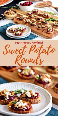 Make room for roasted Cranberry Walnut Sweet Potato Rounds on your table this h. Make room for roasted Cranberry Walnut Sweet Potato Rounds on your table this holiday! This appeti Gluten Free Thanksgiving, Thanksgiving Recipes, Fall Recipes, Holiday Recipes, Thanksgiving Prayer, Thanksgiving Appetizers, Holiday Appetizers, Mini Appetizers, Appetizer Recipes