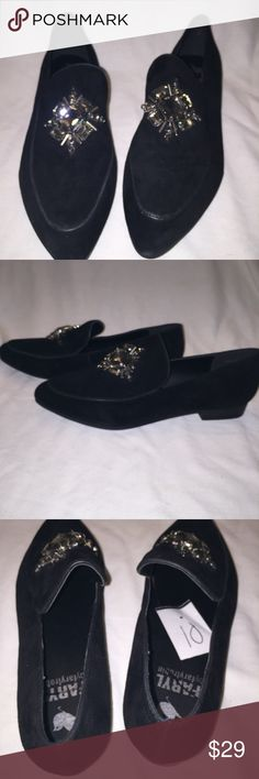 Faryl Robin Jeweled Suede loafers, anthropology NWOT Style is called Easton . Black suede loafers and leather trim ,with a smokey jewel design. 3/4 inch heel , and non slip sole. Bottom soul measures 11 inches from toe to end of heel. Widest part of foot is 3 1/4 . faryl robin  Shoes Flats & Loafers