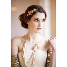 Gold and pearl vintage bridal necklace with gold sequinned shrug and gold vintage tiara, by Victoria Mary Vintage with photography by Hannah Mia Photography