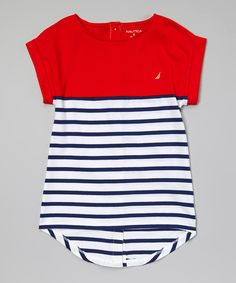 Look what I found on #zulily! Nautica Red & Blue Pieced Stripe Tee - Girls by Nautica #zulilyfinds