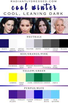 Deep Winter Palette, Cool Winter Color Palette, Deep Winter Colors, Cool Skin Tone, Colors For Skin Tone, Cool Tones, Winter Typ, Clear Winter, Seasonal Color Analysis