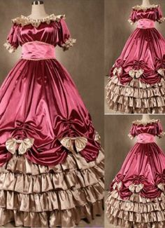 Elegant Pink Gothic Victorian Dress with Bows at salelolita.com