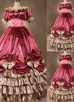 Elegant Pink Gothic Victorian Dress with Bows at salelolita.com