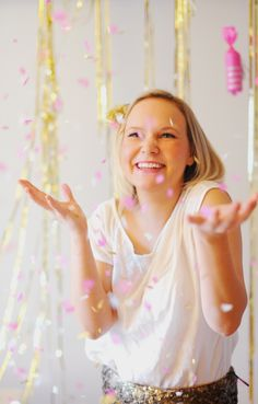hanging confetti poppers by HEYLOOK. i love confetti and glitter
