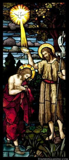 """""""The Baptism of Jesus"""" Religious Stained Glass Window"""