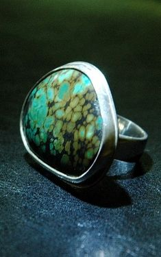 Big Bold and Beautiful Turquoise Ring Olive Green Teal by JenZidek, $200.00