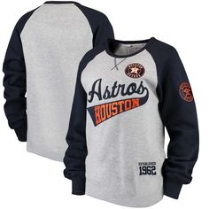 5d9b9381a Houston Astros Soft as a Grape Women s Biowashed Dugout Sweatshirt - Gray  Navy -  49.99