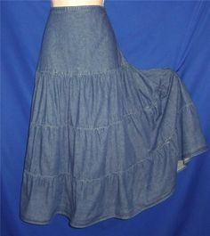 """Found in my Store.. http://stores.ebay.com/My-Evergreen-Closet  Long Tiered Western Blue Denim Boho Prairie Rodeo Broomstick Skirt L  32-34"""" wst"""