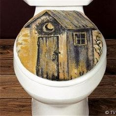 outhouse bathroom set | Outhouse Toilet Seat Cover Rustic Bath Decor