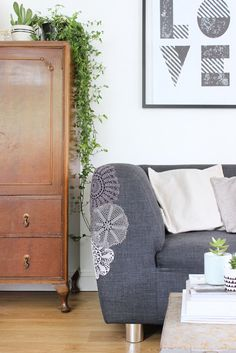 Patch a frayed sofa with lace doilies | Growing spaces