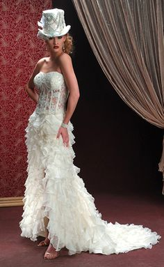 8) Top Hat - Top hat wedding dress/Essence Bridal Gown