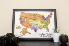 USA Watercolor Scratch Map @seattlestravels