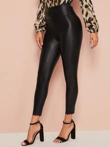 Wide Waistband Scallop Hem Leather Look Pants (With images) | Wide ...