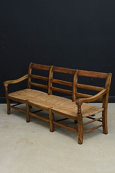 Antique French Provencal Rush Seat Bench (Radassier) Entry Sofa Daybed,  Sofa Bench,
