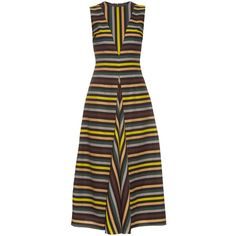 Emilia Wickstead Milly striped cloqué midi dress (£1,090) ❤ liked on Polyvore featuring dresses, multi, mid calf dresses, brown midi dress, print midi dress, multi color dress and multicolor dresses
