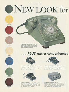Vintage 1954 Phone Ad - we have the green, yellow & beige phone in our collection & they work! Old Advertisements, Retro Advertising, Retro Ads, Advertising Signs, Vintage Phones, Vintage Ads, Vintage Posters, Vintage Logos, Vintage Soul
