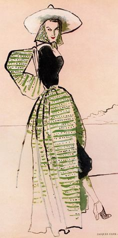 Fashion Illustration by Bernard Blossac, 1947, Jacques Fath.