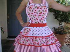 Red Cherry Womens Full Apron by ruffledfrenzy on Etsy Estilo Lolita, Girl Cooking, Custom Aprons, Denim Crafts, Sewing Aprons, Apron Designs, Aprons Vintage, Pin Up Style, Red And White Stripes