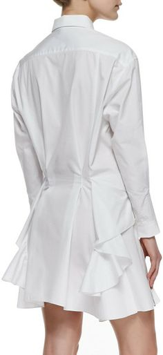 Love this: Pleated Sideruffle Cotton Shirtdress @Lyst