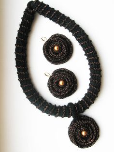 Crochet Necklace and Earrings Set- Black and Bronze