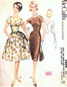 1960s BEAUTIFUL Evening Party Cocktail Dress Pattern McCALLS 5668 Slim or Full Skirt Midriff Dress Bust 36 Vintage Sewing Pattern