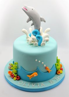 Dolphin Birthday Cakes Dolphin Birthday Cake From Patricia Creative Cakes Brussels Dolphin Birthday Cakes, Dolphin Cakes, Animal Birthday Cakes, Animal Cakes, Football Birthday Cake, 18th Birthday Cake, Themed Birthday Cakes, Themed Cakes, Fondant Cakes