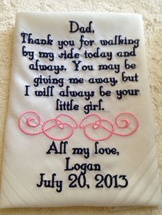 Personalized Father of the Bride wedding Handkerchief gift from bride to her father on Etsy, $25.00