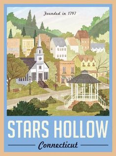 Gillmore-Girls-Stars-Hollow-Connecticut-America-Travel-Advertisement-Poster