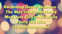Hardening Honey Skincare - The May Lindstrom Honey Mud Uses Clay to Naturally Purify the Skin (TrendHunter.com) - https://plus.google.com/100675337639265517816/posts/A2mqqozG4i6