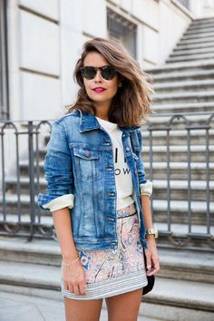 Love the casual graphic tee with fancier skirt dressed down and denim jacket to top off
