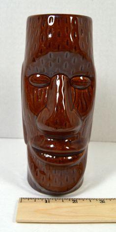 Vintage Retro Tiki Hawaiian Hawaii DW128 Brown Ceramic Tumbler Mug Vase