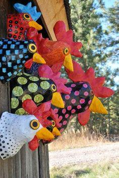 Best Ideas for diy paper mache sculpture clay recipe Paper Mache Projects, Paper Mache Clay, Paper Mache Sculpture, Paper Mache Crafts, Clay Projects, How To Paper Mache, Art Sculptures, Chicken Crafts, Chicken Art
