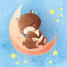 Cute bear sleeping on the moon Premium Vector Watercolor Paper Texture, Abstract Watercolor Art, Pastel Watercolor, Paint Background, Watercolor Background, Baby Illustration, Soft Pink Color, Good Day Song, Cute Bears