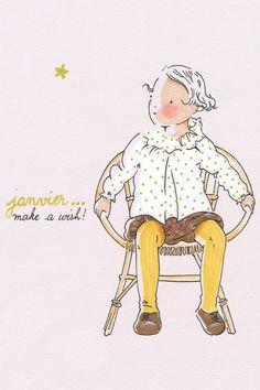"""""""Janvier, fais un souhait !"""" / """"Janvier, make a wish !"""" (As de trèfle & 7 de coeur)"""