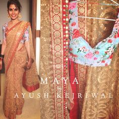MAYA from the CHAMAK collection This cappuccino gold coloured saree is fully hand embroidered with arri work. The border has zardozi details and mirror hand work. The gorgeous honey hue of the saree is beautifully balanced with the stunning powder blue floral blouse. This one will surely turn heads ❤️ For purchases email me at ayushk@hotmail.co.uk or what's app me on 00447840384707 #sarees,#saris,#indianclothes,#womenwear, #anarkalis, #lengha, #ethnicwear, #fashion, #ayushkejriwal,#bollywoo