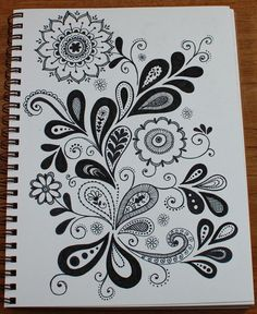 paisley/flower doodle, inspiration for carved ornaments Tangle Doodle, Doodles Zentangles, Zen Doodle, Doodle Art, Doodle Designs, Doodle Patterns, Zentangle Patterns, Patterns To Draw, Doodle Borders