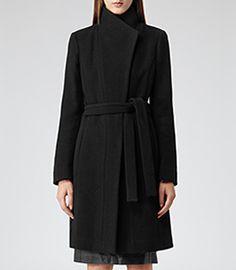 Alsace Black Slim-fit Belted Coat - REISS