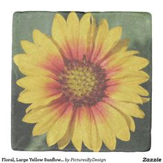 Floral, Large Yellow Sunflower Bloom Stone Coaster