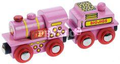 Dřevěná vláčkodráha - Růžová mašinka s tendrem