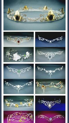Elven circlets from Medieval times. Flip upside down and look like great tiaras Fantasy Dress, Fantasy Hair, Fantasy Makeup, Circlet, Tiaras And Crowns, Wire Jewelry, Jewelry Accessories, Jewelry Making, Bling