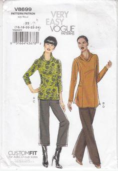 VOGUE Top Tunic Pants Cup Size Custom Fit Sewing Pattern 8699 Szs 16-24 Uncut  #Vogue8699 #seedescription
