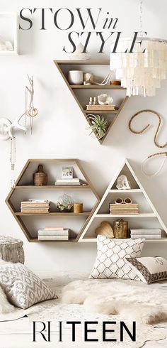 Create a clutter-free dorm room with geometric shelving perfect for organizing or displaying the items within. Shop all shelving at RH TEEN.