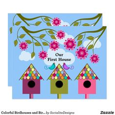 Custom Colorful Birdhouses and Birds Housewarming Party Custom Invitations created by SocialiteDesigns. This invitation design is available on many paper types and is completely custom printed. Invitation Paper, Custom Invitations, Invitation Design, Invitation Ideas, Invitation Templates, Housewarming Party Invitations, Housewarming Gift Baskets, Customised Gifts, Moving Announcements